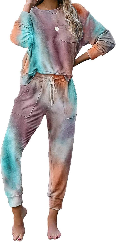 Womens Tie Dye Pajama Sets Long Sleeve Top and Drawstring Jogger Pants 2 Piece Sleepwear Loungewear Set