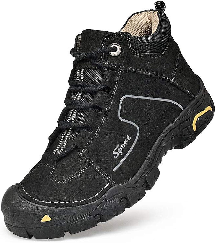 Ailj Snow Boots, Men's Leather Padded Plush Warm Boots Flat Waterproof Short Boots Cotton shoes (3 colors) (color   Black, Size   42 EU 9 US 8 UK 26cm JP)
