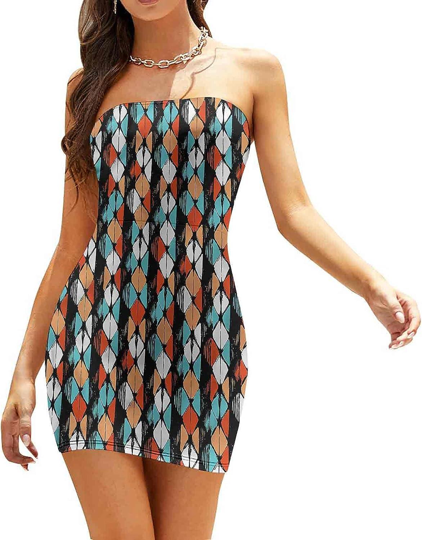 SUZM Women's Tube Top Beach Mini Dress Minimalist Rhombus Pattern Dresses