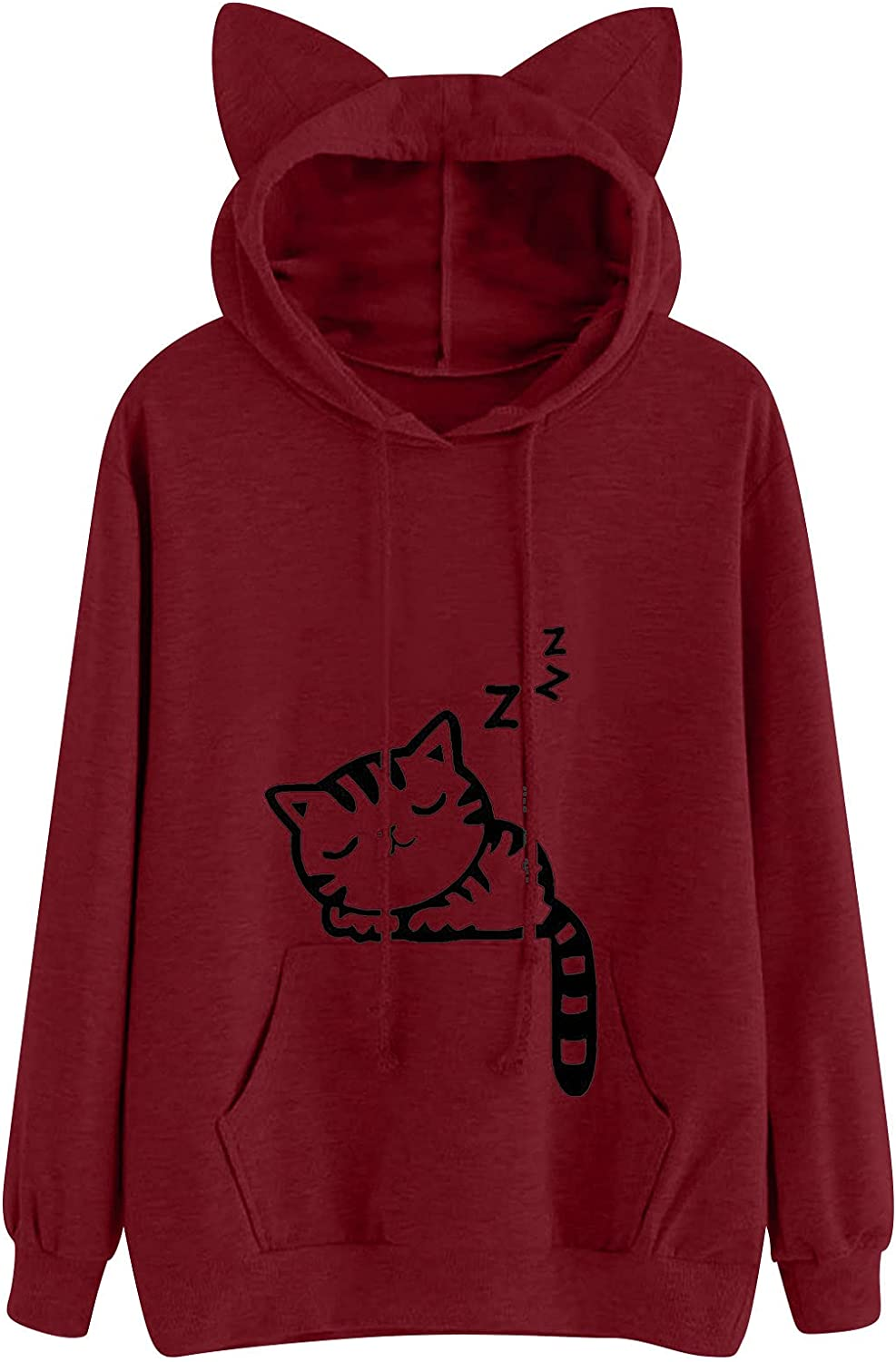 Bravetoshop Hoodies for Women Cat Pullover Outlet SALE Free shipping Ears Cute