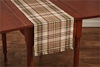 Park Designs Plaid Thyme 13 Inches x 54 Inches Cotton Flatwoven Table Runner