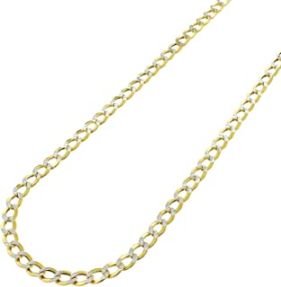 10k Yellow Gold Hollow Cuban Curb Link Two-Tone Diamond-Cut White Pave Necklace Chains 2.5MM - 10.5MM 16