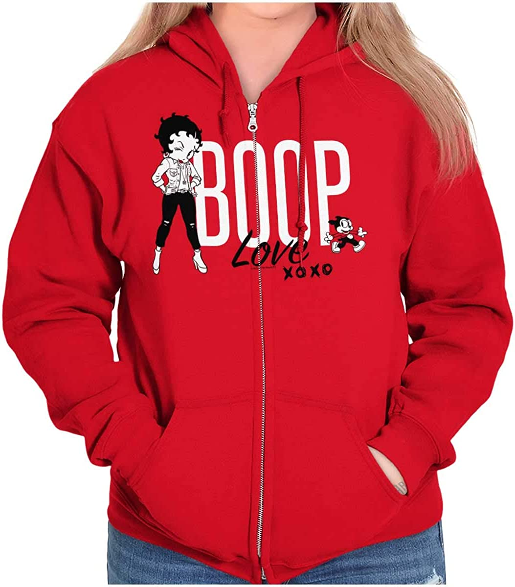 Betty Boop and Bimbo Love Hoodie Women XOXO Sales New mail order for sale Zip Sweatshirt