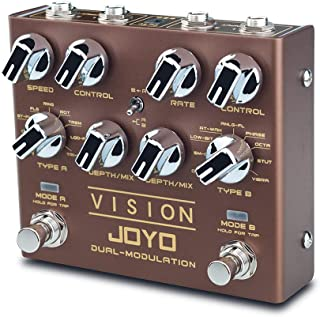 JOYO R-09 VISION Multi-Effects Pedal Dual Channel Modulation Effect Pedal for Electric Guitar Each Channel with 9 Effects ...