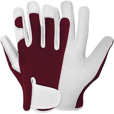 Trongle Ladies Gardening Gloves, Flexible Gardening Gloves for Women, Breathable Gardening Gloves Ladies, Leather Heavy Duty Gardening Gloves Bramble Work Gloves for Garden, Yard, Gift, Red, M