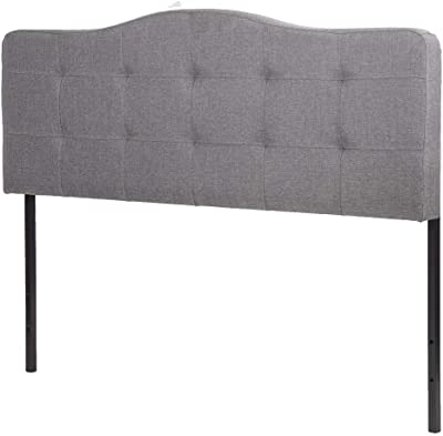 e5ee9ecacd93 BestMassage Headboard Linen Upholstered Queen Size with Gray Curved Shape Tufted  Button Fabric
