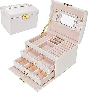 Gifort Caja Joyero, Caja para Joyas con Espejo y Cajones