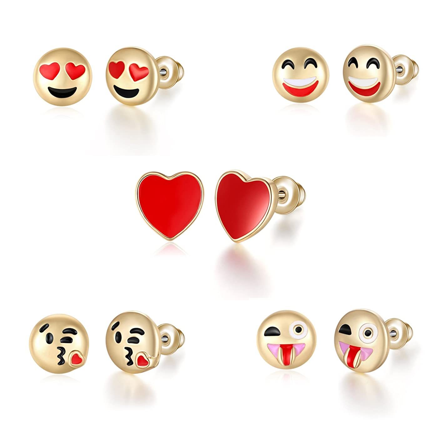 T-PERFECT LIFE 5pcs 18K Gold Plated Cute Smile Emoji Faces Charms Stud Earrings Set (smile heart)