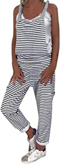 Summer Casual Striped Jumpsuit for Women,QueenMM🔥🔥Ajustable Straps Overalls Baggy Bib Pants Plus Size Wide Leg Rompers