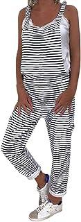 STRIR Mujer Peto de Pantalones de Rayas Largo Suelto Mono Bolsillos Casual Playa Fiesta Noche Cóctel