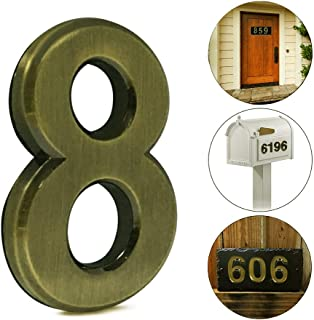 2 pcs Mailbox Numbers 0,3D Brass Metal Self-Stick Door House Numbers,Street Address Plaques Numbers for Residence and Mailbox Signs,2-3/4 Inch (8)