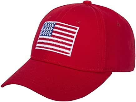 WENDYWU American Flag Baseball Cap Unisex Cotton Structured with Snapback Closure (Red)
