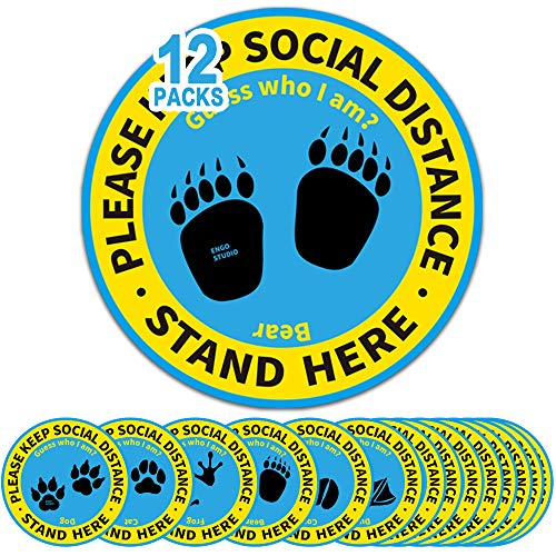 12 Pack 8' Social Distancing Floor Stickers, Keep 6 Feet Distance Floor Sign, Please Wait Stand Here Label, 6 ft Vinyl PVC Public Decal, Footprint Marker for Kid, Crowd Control, Office, Classroom