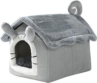 猫窝狗窝房子形状猫咪宠物窝可拆卸猫窝狗屋亲肤舒适毛绒萌趣宠物小洋房,大空间可容纳实用性强可拆卸方便清洗防滑底部,防潮防滑