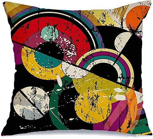 Funda de Cojine Throw CojínPaleta mixta Lienzo Rayas Círculo abstracto Estilo de trazo retrovintage Pintura creativa Círculos al óleo Fundas para almohada 45X45CM
