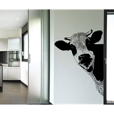 Amazon Com Stickerbrand Peeking Farm Cow Vinyl Wall Decal Sticker Black 5476 58in H X 42in W Facing Left Kitchen Dining