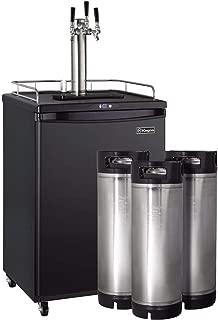 Kegco HBK163B-3K Triple Faucet Digital Commercial Homebrew Kegerator with 5 Gallon Kegs - Black