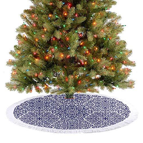Homesonne Patrón de faldas de árbol, diseño de flores con corazones, estilo ruso, decoración de Navidad para casa de campo, chimenea, fiesta, azul real, blanco, 77 cm