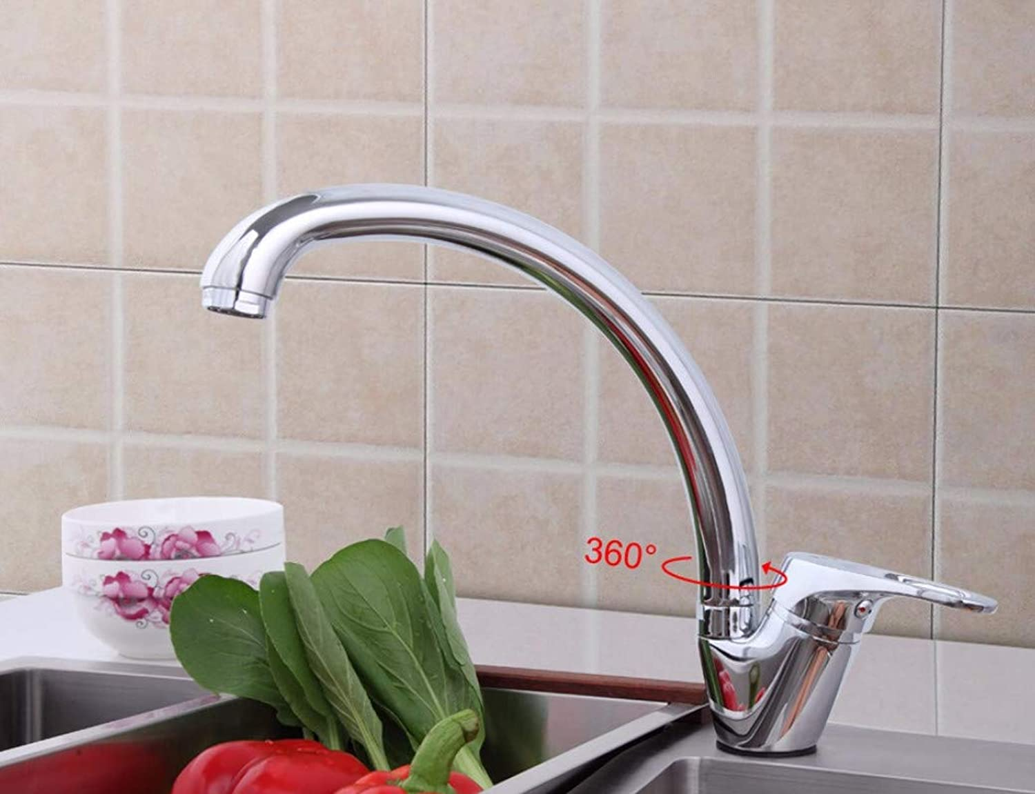 Decorry 360 Degree redation Brass Body Chrome Kitchen Sink Faucet Cold and hot Mixer tap Curved Outlet Pipe taps F4113-2
