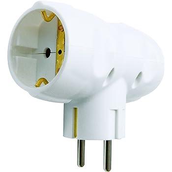 Garza Power - Adaptador Doble Lateral (2 Tomas Schuko) con toma de Tierra, formato Blíster, color Blanco