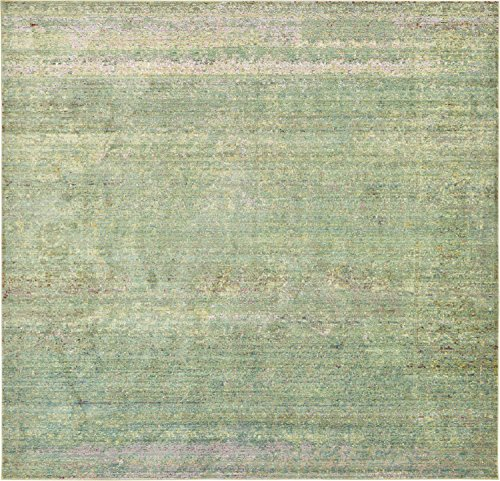 Unique Loom Austin Collection Casual Vintage Over-Dyed Green Square Rug (8' 0 x 8' 0)