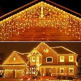 Elegear Cortina de Luces 4M Cascadas de Luces Navidad End-to-End IP44 Impermeable, 8 Modos para Navidad,Fiestas,Bodas,Dormitorio,Jardines, Bar