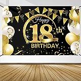 Decoración de Fiesta de 18 Cumpleaños, Extra Grande Póster de Cartel Dorado Negro Materiales de Fiesta de 18 Cumpleaños, Pancarta de Fondo de 18 Aniversario para Foto Prop Fondo