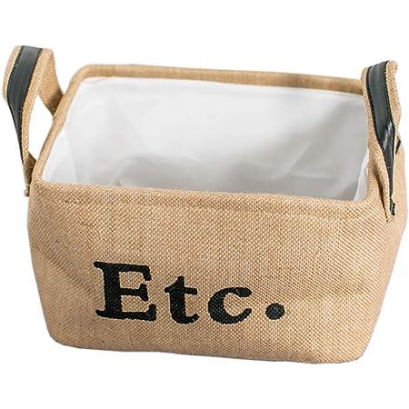 SOCOHOME Panier de Rangement en Jute, Bac de Rangement en tissu épaissi pour armoire à vêtements pour jouets (Beige, Small, Pliable)