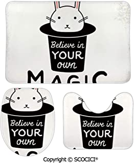 SCOCICI Funny Three-Piece Toilet Seat Pad Believe in Your Own Magic Quite Print with Cute Rabbit in Hat Motivation Bathroom Rug Mats Includes Bath Mat,Contour Mat and Lid Cover