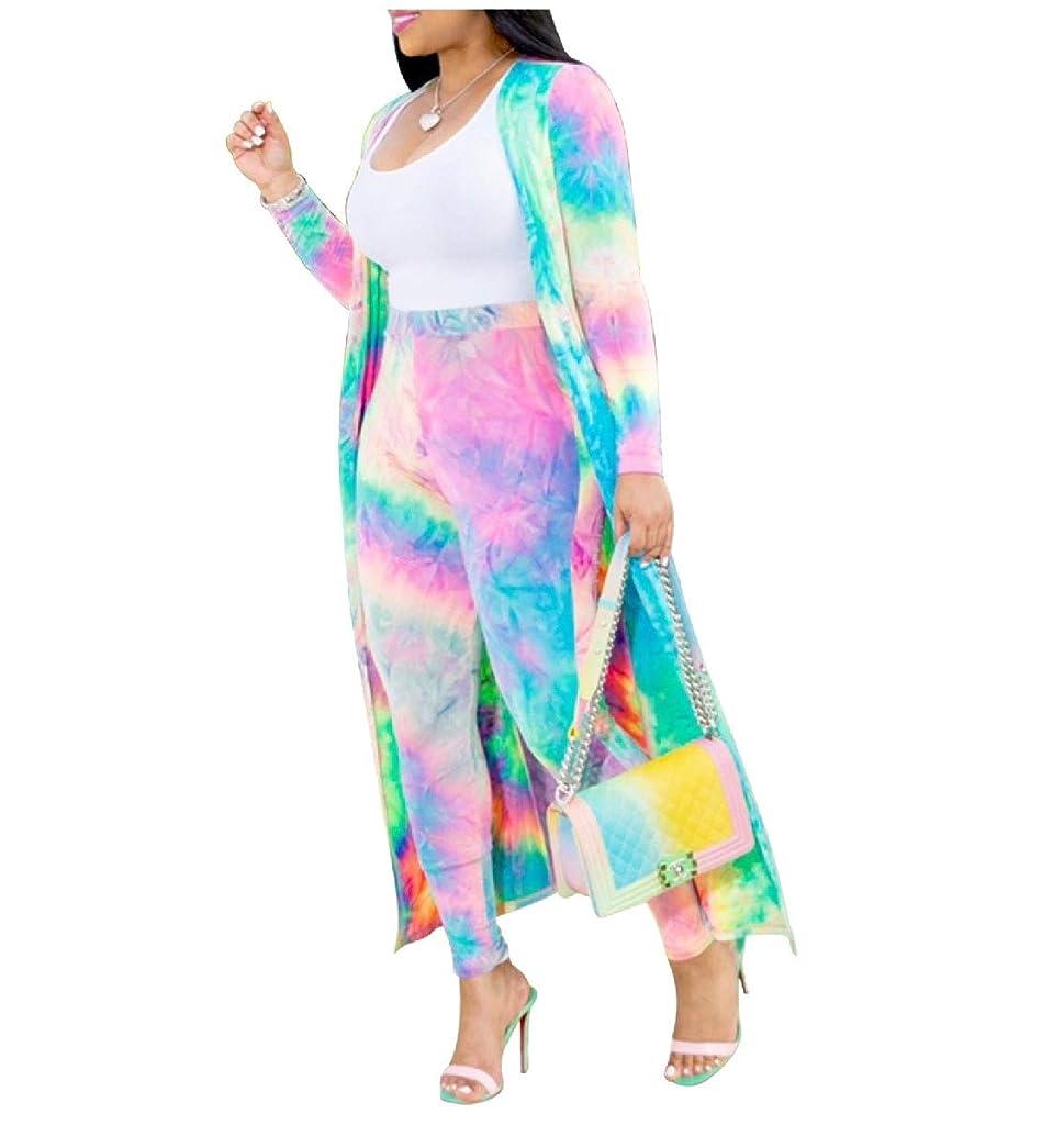 北米差し引く明快VITryst 女性ツーピーススーツネクタイ染料プリントカーディガンとロングパンツセット