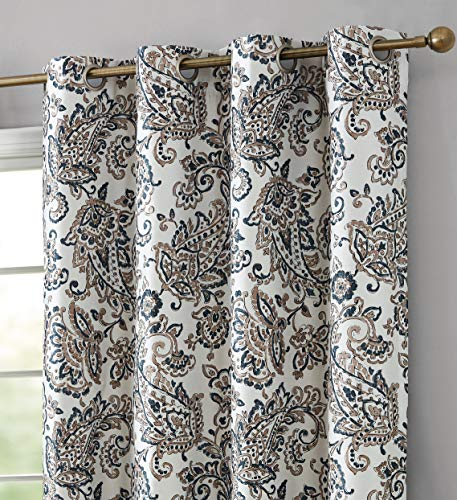 HLC.ME Amalfi Paisley Faux Silk 100% Blackout Room Darkening Thermal Lined Curtain Grommet Panels for Bedroom - Energy Efficient, Complete Darkness, Noise Reducing - Set of 2 (Taupe, 52' W x 96' L)