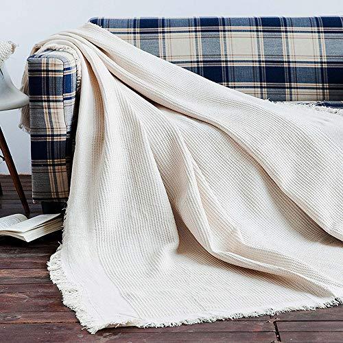 MYYINGELE Weich Gestrickte Quaste Decke Baumwollkabel Super weich warm gestrickt gehäkelte Decke für Couch Sofa Strandkorb Bett Home Decorative Angenehm, 230 * 280cm