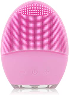 Sonic Facial Cleansing Brush, YUNCHI Y2 Food Grade Silicone Waterproof Portable Face Brush for Cleansing, Scrubbing and Exfoliating - Pink
