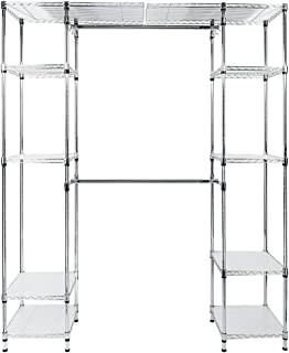 Expandable Closet Organizer System, 5-Tier Wire Closet Shelving Unit Metal Rack Adjustable Height Clothing Garment Rack with Double Hanging Rod, Side Hooks and Flat Surface (US STOCK)