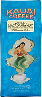 Kauai Hawaiian Ground Coffee, Vanilla Macadamia Nut Flavor (10 oz Bag) - 100% Premium Gourmet Arabica Coffee from Hawaii's Largest Coffee Grower - Bold, Rich Blend