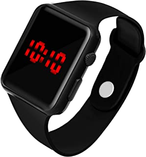 WRIGHTRACK New Generation Digital Square Black Dial Day Date Calendar Red LED Watch for Boys, Girls & Kids