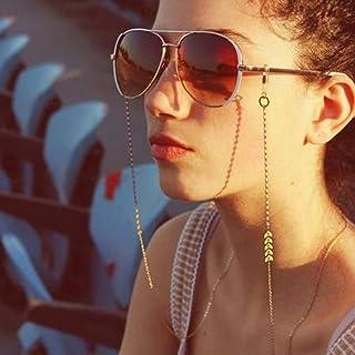 Yienate Bohême Chaîne de lunettes en alliage en forme de V pour femme, accessoire de lunettes – Support de lunettes – Sang...