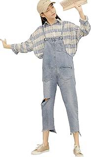 PuHao (プハオ) レディース デニム サロペット 春 夏 ダメージ加工 サルエル パンツ つなぎ オールインワン オーバーオール ゆったり シンプル ポケット付き カジュアル 大きい サイズ