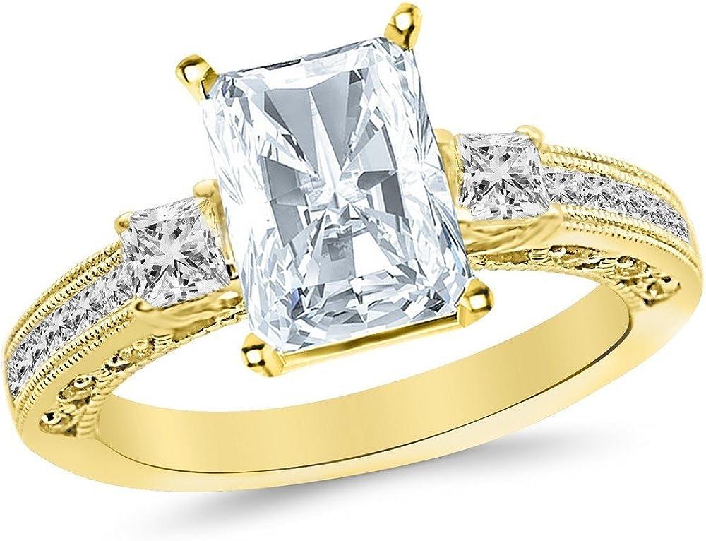 2.5 Ctw Luxury 14K White Gold Phoenix Mall Three 3 Cut Channel GI Set Princess Stone