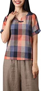 MOTOCO Camiseta de Mujer Top Camisa a Cuadros/Estampado Suelto Camisa Casual de Manga Corta con Cuello en V y Manga Corta para Mujer