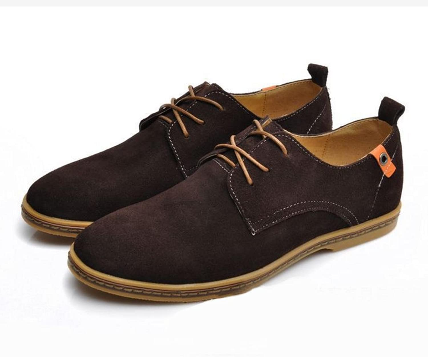 WZG New fall men 's fashion suede leather men' s shoes casual shoes flat shoes 9.5 , camel , 44
