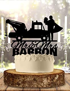 ZonaRaman Tow Truck Personalized Wedding Cake Topper Anniversary Party Decorations Favors