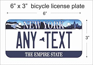 ATD New York State Replica Novelty License Plate or Mini License Plate for Bicycles, Bikes, Wheelchairs, Golf Carts Personalized with Your Design Custom Vanity Decorative Plate
