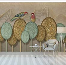 FLYYL Mural Wallpaper Home Decor Wallpaper Hand Painted Gold Leaf Parrot Background Wall Decorative Painting Home Decoration,400X280CM