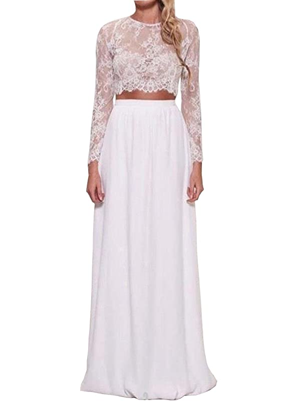 Dreammade Women's Two Pieces Wedding Dresses Chiffon Spring Lace Long Sleeve Party Dress