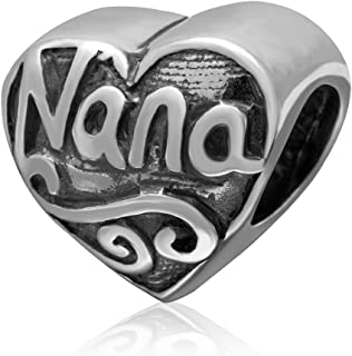 Heart Love Nana 925 Sterling Silver Bead Fit European Brand Charms Gift for Grandma