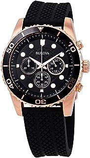 Bulova Sport Chronograph Black Dial Black Rubber Men's Watch 98A192