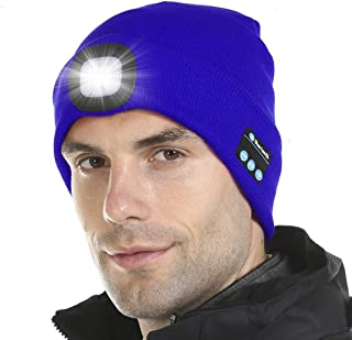 Tutuko Bluetooth 5.0 LED Beanie Hat, Built-in Stereo Speakers & Mic, USB Rechargeable LED Lighted Knit Cap, Unisex Christmas Gifts for Men, Women, Teens, Warm Hat (Navy Blue)