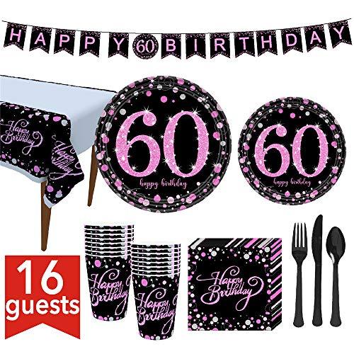 VAINECHAY 60 Decoración Fiesta cumpleaños,Vajilla Desechable Banner Platos Vasos Tenedores Cucharas Cuchillos Mantel y Servilletas,Rosado Negro para Fiestas Feliz cumpleaños (16 Invitados)