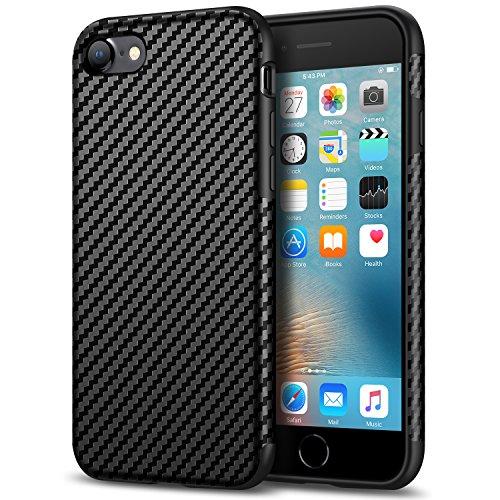 Tasikar iPhone SE 2020 Hülle/iPhone 7 Hülle/iPhone 8 Hülle Carbon Leder Weiche Schutzhülle Kompatibel mit iPhone SE 2020/7 / 8 (Schwarz)